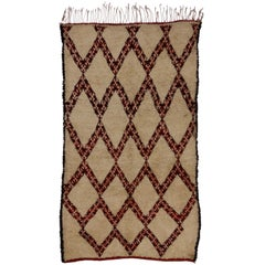 Vintage Beni Ourain Moroccan Rug in Mid-Century Modern Style