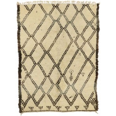 Vintage Beni Ourain Moroccan Rug in Traditional Village Style