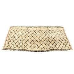 Vintage Beni Ourain Moroccan Rug, Ivory and Black
