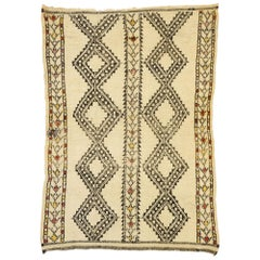 Vintage Beni Ourain Moroccan Rug with Mid-Century Modern Style and Hygge Vibes