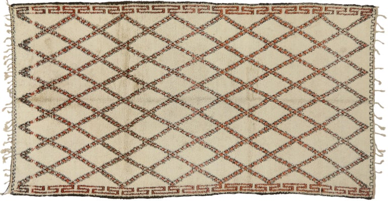 Wool Vintage Beni Ourain Moroccan Rug with Modern Bauhaus Style and Hygge Vibes For Sale