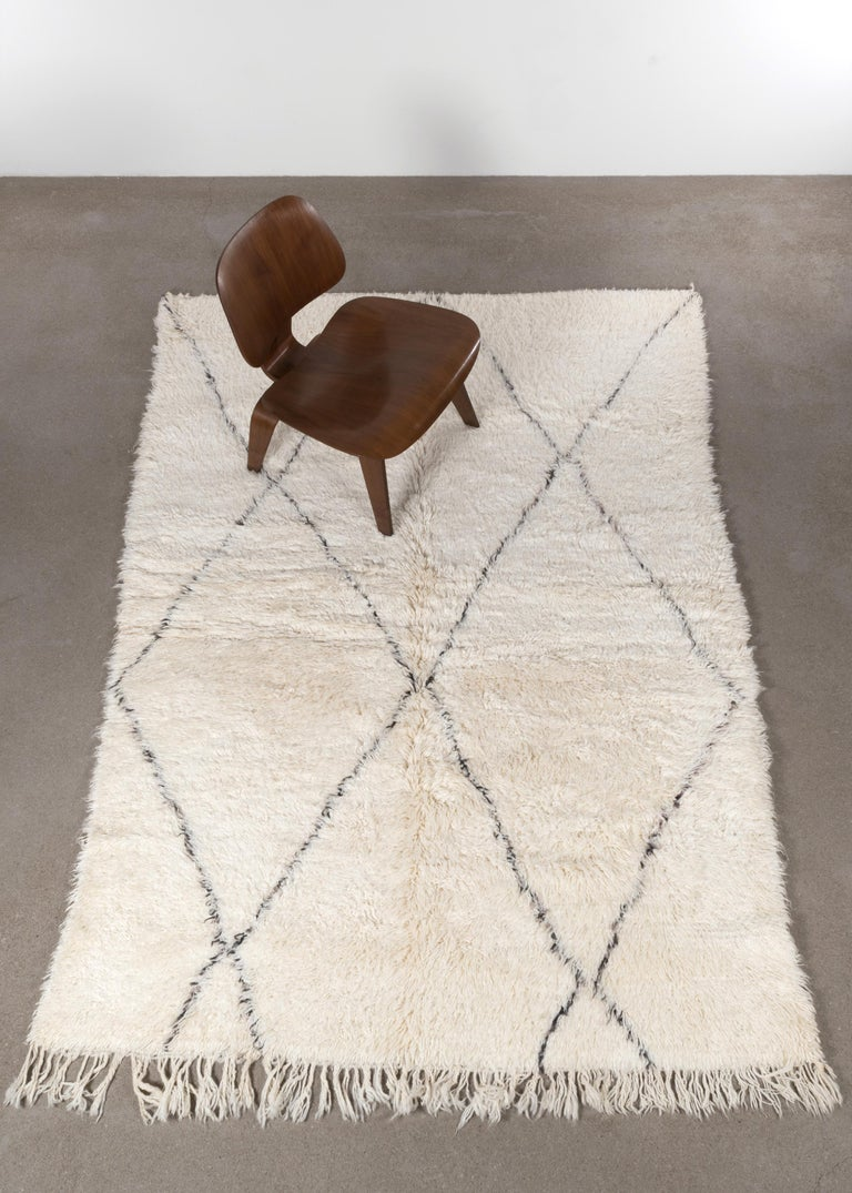 Mid-Century Modern Vintage Beni Ourain Rug Hand Picked from Morocco For Sale