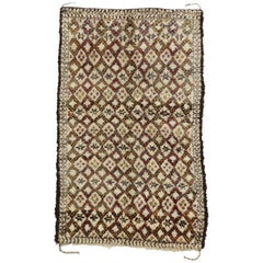 Vintage Beni Ourain Rug with Mid-Century Modern Style, Berber Moroccan Rug