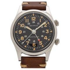 Vintage Benrus Wrist Alarm Stainless Steel Watch, 1960s