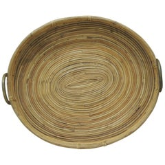 Vintage Bent Oval Rattan Serving Tray with Antique Brass Finished Handles