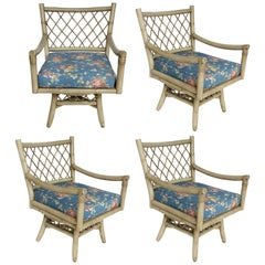 Vintage Bent Rattan Armchairs with Loose Cushions, Two Pair Available