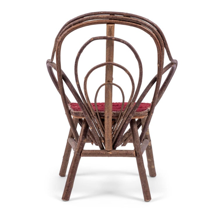 Folk Art Vintage Petite Bent-Willow Chair For Sale