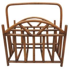 Vintage Bent Wood Artisanal Magazine Rack