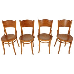 "Vintage Bentwood Chairs, Set of 4, ""Thonet"" Chairs, Czechoslovakia 1930, B2023"