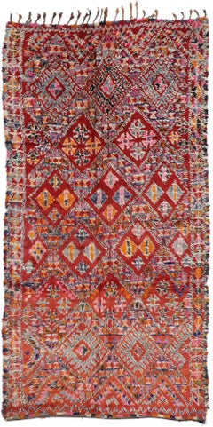 Vintage Berber Beni M'Guild Moroccan Rug with Boho Chic Tribal Style