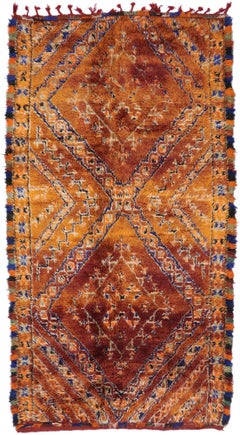 Vintage Berber Beni M'Guild Moroccan Rug with Mid-Century Modern Style