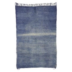 Vintage Berber Blue Ombre Moroccan Rug with Boho Beach Vibes and Modern Style