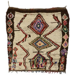 Vintage Berber Moroccan Azilal Boucherouite Rug with Tribal Style