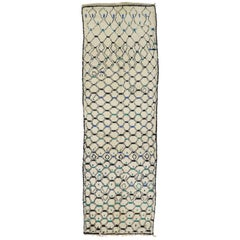 Vintage Berber Moroccan Azilal Rug Runner with Boho Chic Style