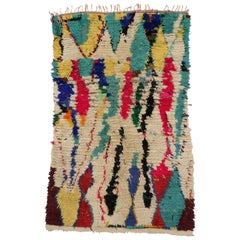 Vintage Berber Moroccan Azilal Rug with Abstract Expressionist Style