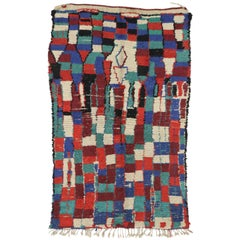 Vintage Berber Moroccan Azilal Rug with Postmodern Bauhaus and Cubism Style