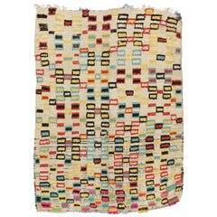 Vintage Berber Moroccan Azilal Rug with Postmodern Style after Douglas Coupland