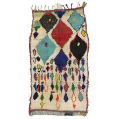 Vintage Berber Moroccan Azilal Rug with Tribal Boho Chic Style
