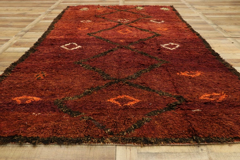 Wool Vintage Berber Moroccan Beni M'Rirt Rug with a Warm Mid-Century Modern Style For Sale