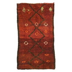 Vintage Berber Moroccan Beni M'Rirt Rug with a Warm Mid-Century Modern Style