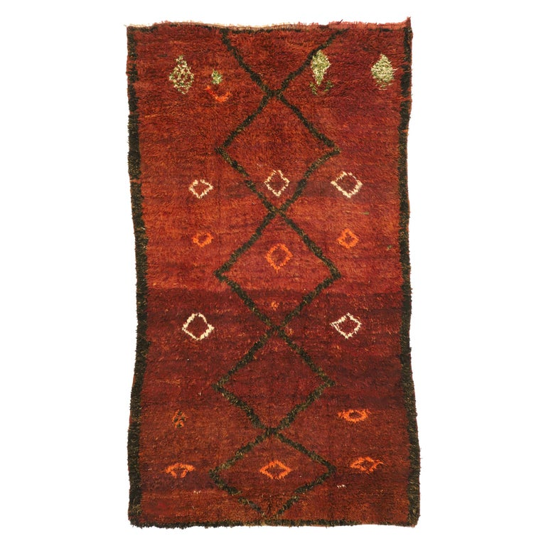 Vintage Berber Moroccan Beni M'Rirt Rug with a Warm Mid-Century Modern Style For Sale