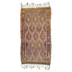Vintage Berber Moroccan Beni Mrirt Rug with Rustic Modern and Bohemian Style
