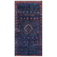 Vintage Berber Moroccan Blue Rug. Size: 5 ft 6 in x 11 ft 8 in