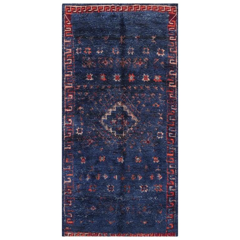 Vintage Berber Moroccan Blue Rug For Sale