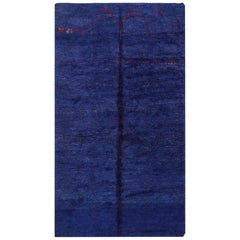 Vintage Berber Moroccan Blue Rug. Size: 6 ft x 10 ft 9 in