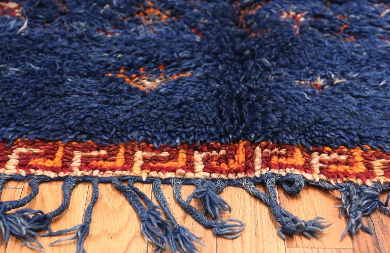Beautiful Berber vintage Moroccan blue rug, country of origin: Morocco, circa mid-20th century - Size: 5 ft 6 in x 11 ft 8 in (1.68 m x 3.56 m).