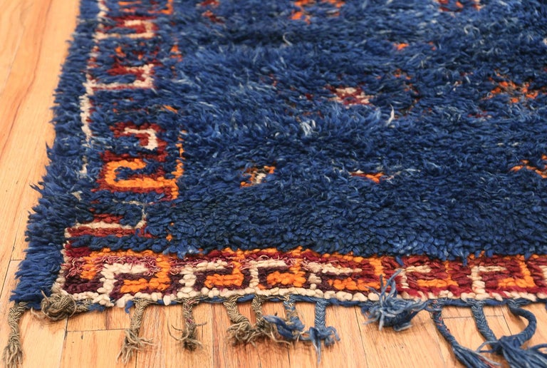 Vintage Berber Moroccan Blue Rug In Excellent Condition For Sale In New York, NY