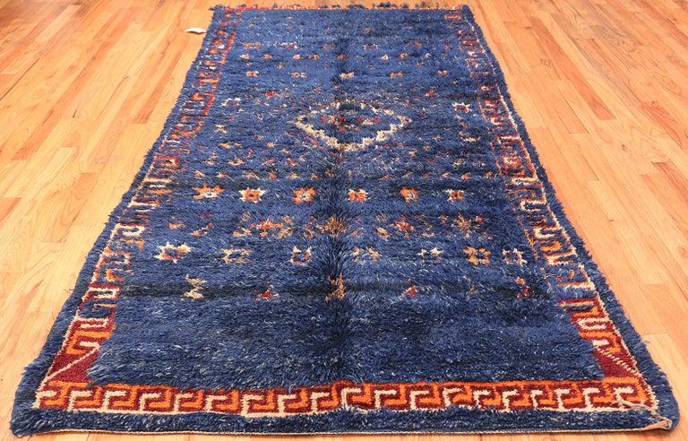 Vintage Berber Moroccan Blue Rug For Sale 1