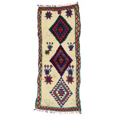 Vintage Berber Moroccan Boucherouite Azilal Rug with Tribal Style