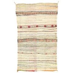 Vintage Berber Moroccan Boucherouite Kilim Rug, Flat-Weave Rug