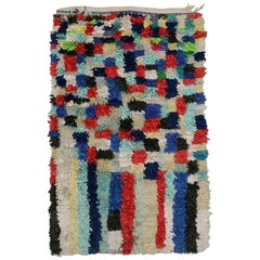Vintage Berber Moroccan Boucherouite Rug with Postmodern Bauhaus Cubism Style
