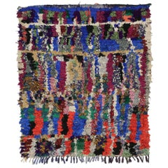 Vintage Berber Moroccan Boucherouite Rug, Colorful Moroccan Shag Accent Rug