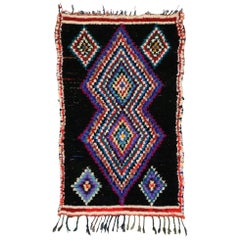 Vintage Berber Moroccan Boucherouite Rug with Boho Chic Tribal Style