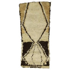 Vintage Berber Moroccan Boucherouite Rug with Mid-Century Modern Tribal Style