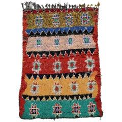 Vintage Berber Moroccan Boucherouite Rug with Tribal Style