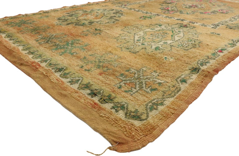 20936, vintage Berber Moroccan Boujad rug with Biophilic design and nature inspired style. Cheerful and beguiling with ambiguous Berber symbols, this hand knotted wool vintage Moroccan Boujad rug is a vibrant cultural artifact of the 1950s