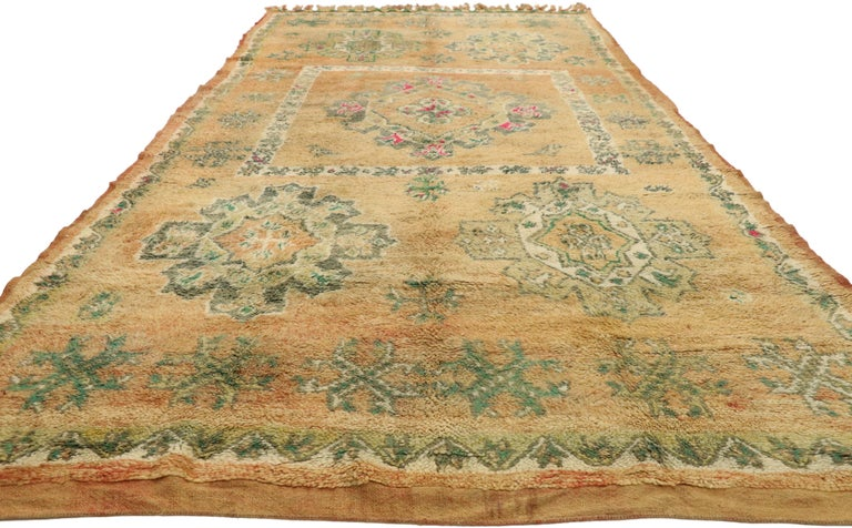 Bohemian Vintage Berber Moroccan Boujad Rug with Biophilic Design Nature Inspired Style For Sale