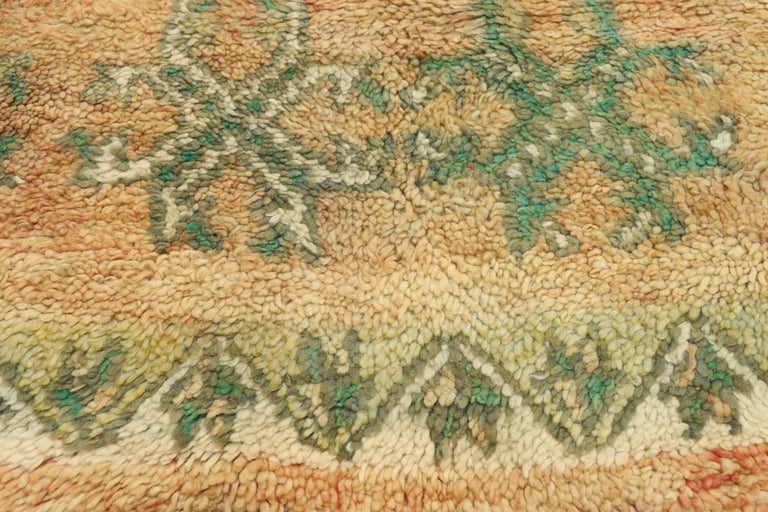 Hand-Knotted Vintage Berber Moroccan Boujad Rug with Biophilic Design Nature Inspired Style For Sale