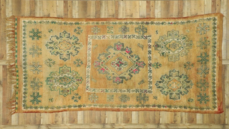 Vintage Berber Moroccan Boujad Rug with Biophilic Design Nature Inspired Style For Sale 1
