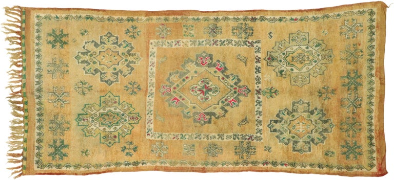 Vintage Berber Moroccan Boujad Rug with Biophilic Design Nature Inspired Style For Sale 2