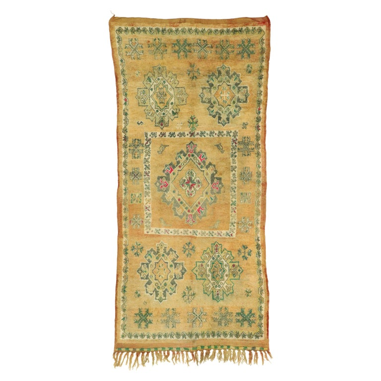 Vintage Berber Moroccan Boujad Rug with Biophilic Design Nature Inspired Style For Sale