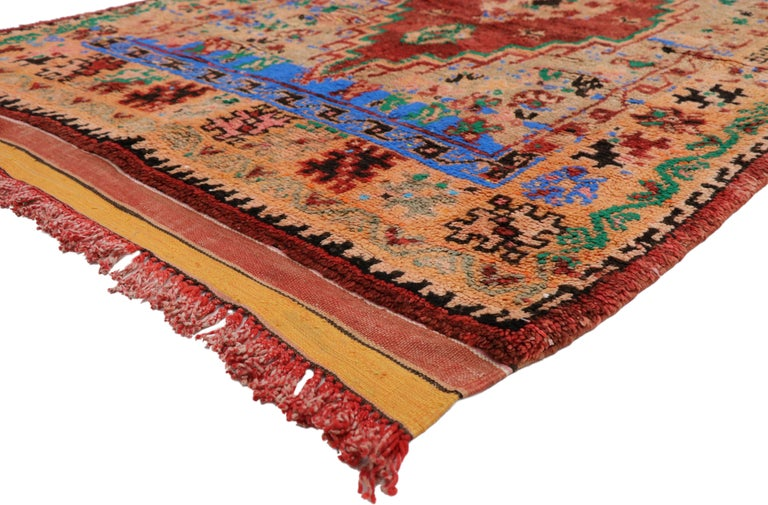Hand-Knotted Vintage Berber Moroccan Boujad Rug with Contemporary Abstract Tribal Style For Sale