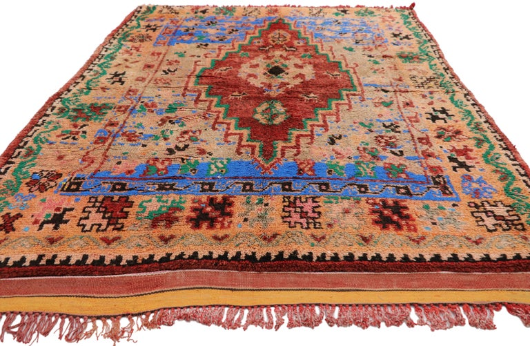 Vintage Berber Moroccan Boujad Rug with Contemporary Abstract Tribal Style In Good Condition For Sale In Dallas, TX