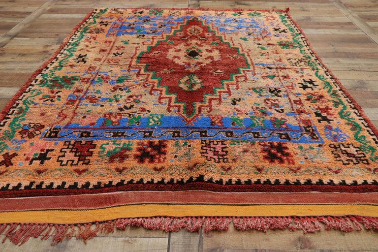 Vintage Berber Moroccan Boujad Rug with Contemporary Abstract Tribal Style For Sale 2