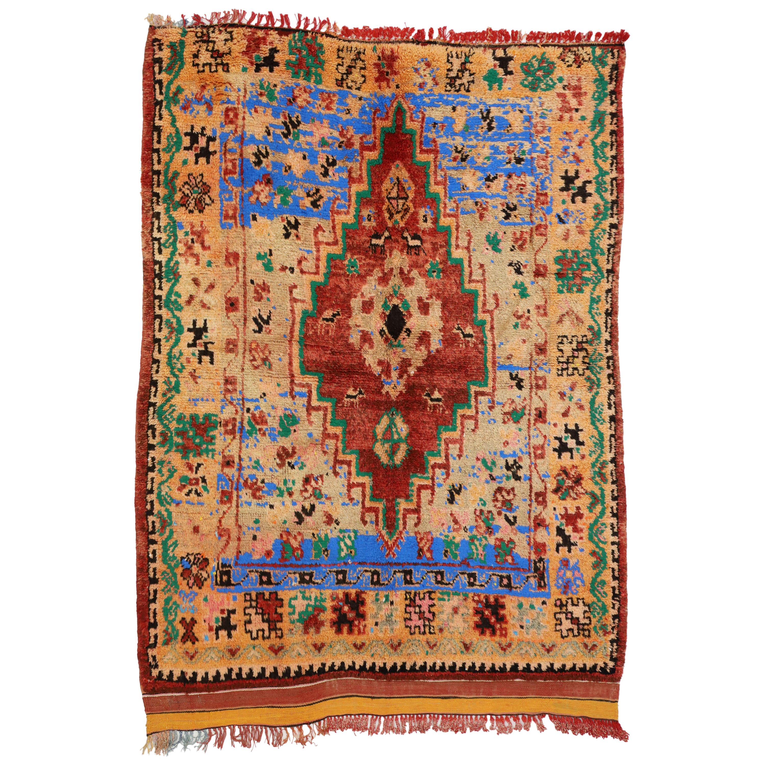 Vintage Berber Moroccan Boujad Rug with Contemporary Abstract Tribal Style