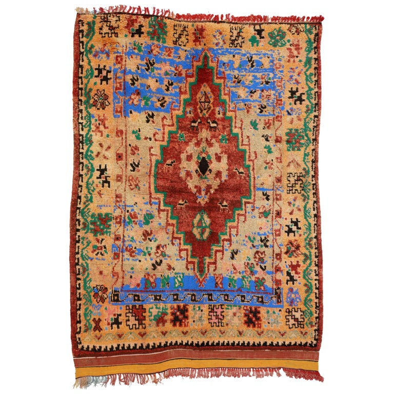 Vintage Berber Moroccan Boujad Rug with Contemporary Abstract Tribal Style For Sale